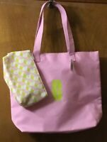 CLINIQUE reversable pink book, shopping, work or beach tote bag & cosmetic bag
