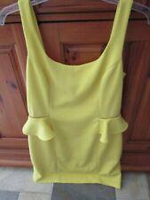 BETSEY JOHNSON, Size 8, Yellow Pique Knit Bodycon Peplum Waffle Zipper Dress
