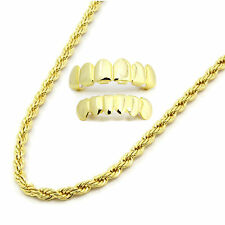 """Mens 14K Gold Plated 4mm 24"""" Rope Necklace Chain And Set Of Grillz"""