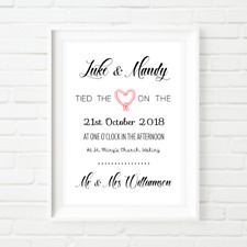Personalised Wedding Day Anniversary Couple Print Wall Art Gift Present Poster