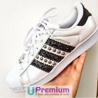 Adidas Superstar Bianche Strisce Glitterate Nere Borchiate [Prodotto Customizzat