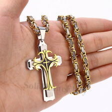 Men Stainless Steel Gold Silver Cross Pendant Byzantine Box Chain Necklace