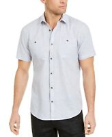 INC Mens Shirt Blue Size Medium M Button Down Short Sleeve Pocket Tee $49- #362