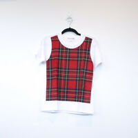 100% authentic COMME DES GARCONS GIRL tartan short sleeve tee white red tshirt S