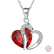 925 Sterling Silver Heart Pendant Necklace Red Gift for Her with Gift Bag