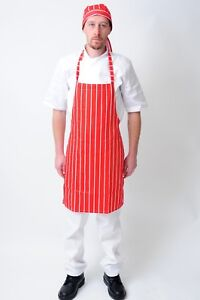 New Red and White Striped Butcher / Chef Bib Apron For Waiter,Waitress,Bar Staff