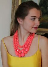 Kate Spade NY GIVE IT A SWIRL faceted bead 3 triple STRAND NECKLACE PINK CORAL