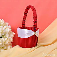 Red Satin Bow Flower Girl Baskets -GB56d