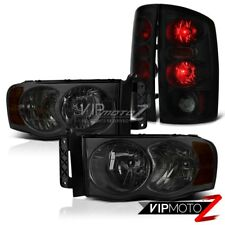 "2002-2005 Dodge Ram 1500 2500 3500 ""SINISTER BLACK"" Smoke Headlight Tail Lights"