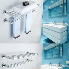 2-Tier Chrome Wall Mount Bathroom Towel Rail Mounted Holder Shelf Rack Bar New