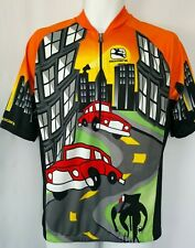 "Giordana Men's Cycling Jersey 'Bikes Rule"" All Over Pattern Size Large Half Zip"