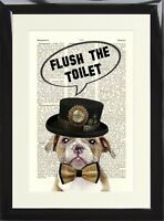 Funny Bathroom Humour Loo Toilet Sign Collie Dog Flush The Toilet Print Poster