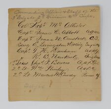 1864 List of Officers & Staff ~3d Brigade, 3d Div, II Corps, Army of the Potomac