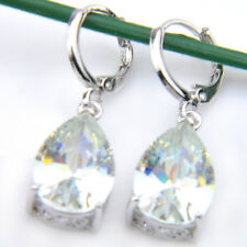 Water Drop Shaped Gorgeous Shiny White Fire Topaz Square  Silver Dangle Earrings