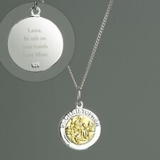 Personalised / Engraved Sterling Silver & 9ct Gold St Christopher Necklace