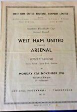 More details for west ham utd v arsenal southern floodlight cup 2nd rnd. 12/11/1956 upton park.