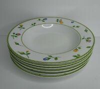 """Studio Nova Set of 6 ENGLISH GARDEN Porcelain 9"""" Rimmed Soup Bowls Floral"""