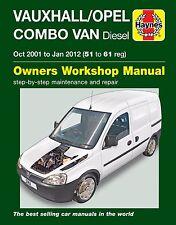 Vauxhall/opel combo van 1.3 1.7 diesel 2001 à jan 2012 haynes manuel 6362