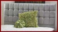 """Silver Light Grey fabric Earl Buttoned Bed Headboard 26"""" Tall"""