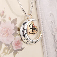 I Love You To The Moon And Back Gold & Silver Heart & Mom Pendant Necklace Gifts