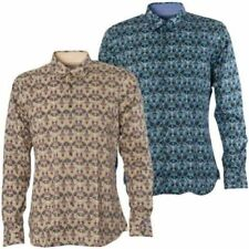 Regular Size Long Sleeve Floral Casual Shirts for Men