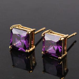 18K Yellow Gold Purple Amethyst Solitaire 7mm Stud Earrings 412