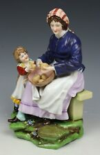 """Antique E&A Muller figurine """"Woman and Child Peeling Potatoes"""" WorldWide"""