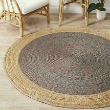 Rug Natural Jute 6x6 Feet Handmade Circular Modern Reversible Rug Home Decor Rug