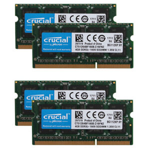 Crucial RAM 16G 8GB 4GB PC3L-12800 DDR3L 1600MHz Laptop Memory SODIMM 204pin Lot