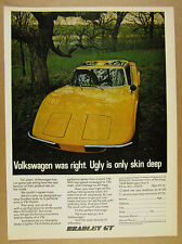 1975 Bradley GT yellow kit car photo 'Volkswagen was right' vintage print Ad
