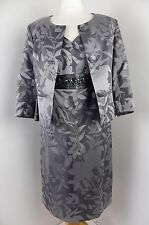 BNWT KALIKO mother of the bride suit dress jacket Size 10 12 grey silver jewel