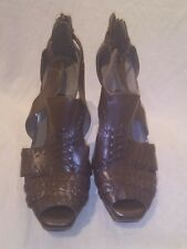 All saints ladies leather brown peep toe heels uk 5 ref ba06