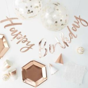 Rose Gold Party in a Box - Plates, Cups, Napkins,Hats,Confetti Balloons, bunting