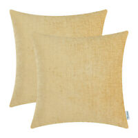 2Pcs Gold Cushion Covers Pillows Shells Solid Dyed Soft Home Chenille 16 x 16 in