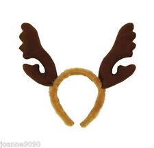 NUEVO Navidad Marrón Piel Rudolph El Reno Diadema cuernos
