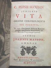 1709 Jean Masson 'C. PLINII SECUNDI JUNIORIS VITA' AMSTERDAM ORIGINAL VELLUM