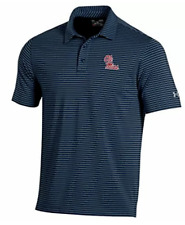 Ole Miss Rebels NCAA Men's Under Armour Striped Golf Polo Shirt, NWT