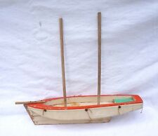 "Vintage French Wooden Sailing Boat Model 18"" Nautical Boat Needs Repair 1950"