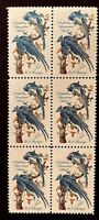 "US Stamps, Scott #1241 ""Audubon"" 1963 5c Block of 6 XF/S M/NH PO fresh"