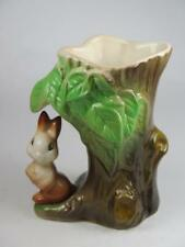 VINTAGE EASTGATE FAUNA POSY VASE No 55 Rabbit Under Leaves by Tree Trunk 1960s