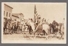 Real Photo Postcard McLaughlin, South Dakota Annual Fair with Indian Chief