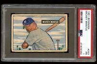 1951 Bowman #253 Mickey Mantle Rc Rookie PSA 1