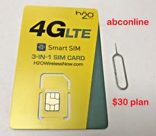 H2O Wireless Prepaid $30 Plan 1St Month Free 3 In 1 Size Smart Sim Card 4G Lte