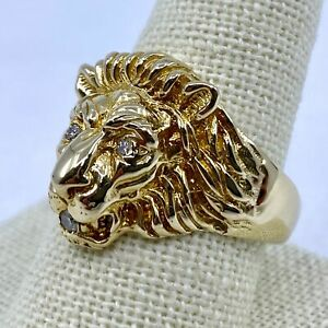 14k Yellow Gold Lion Head Ring with Diamonds in Eyes and Mouth