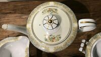 "NORITAKE ROSE CHINA OCCUPIED? JAPAN VTG TEA SET INCL 7-3/4""PLATES GOLD TRIM EUC"