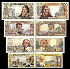 2x 500 - 10000 francs francais - Edition 1953 - 1958 - 8 billets de banque - 06