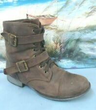 DOLCE VITA brown ankle boots harness buckle leather womens 10.5 1357