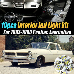 10Pc White Car Interior LED Light Bulb Kit for 1962-1963 Pontiac Laurentian