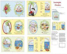 Bazoople Pirates Jungle Animal Nursery Book Panel Cotton Fabric By The Panel