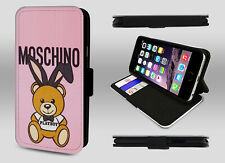 Moschino Bear Fashion Street Wear Playboy Doll Wallet Leather Phone Case Cover